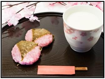 甘酒と和菓子の画像